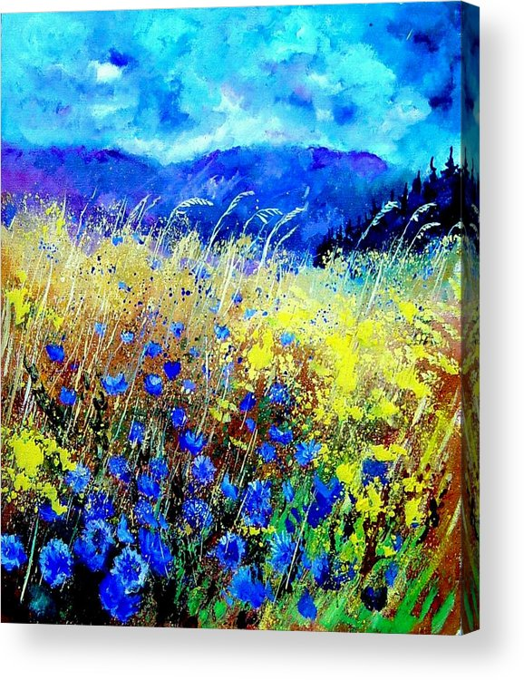 Poppies Acrylic Print featuring the painting Blue cornflowers 67 by Pol Ledent