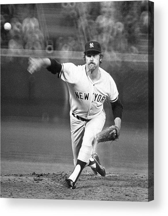 American League Baseball Acrylic Print featuring the photograph Catfish Hunter by Ronald C. Modra/sports Imagery