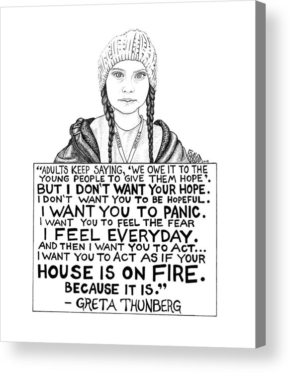 Pen And Ink Acrylic Print featuring the drawing Greta Thunberg Drawing by Rick Frausto