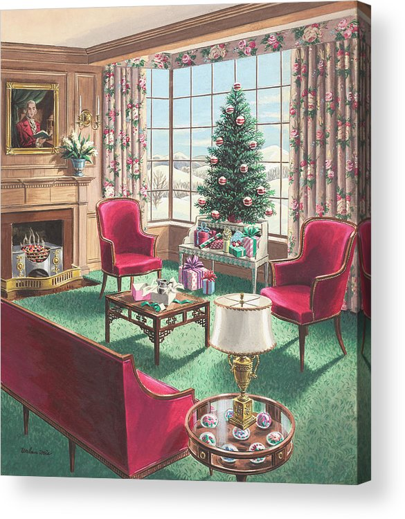 Acrylic Print featuring the painting Illustration of a Christmas Living Room Scene by Urban Weis