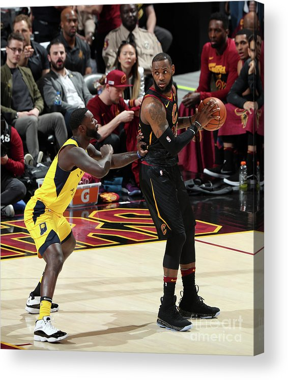Playoffs Acrylic Print featuring the photograph Lance Stephenson and Lebron James by Nathaniel S. Butler