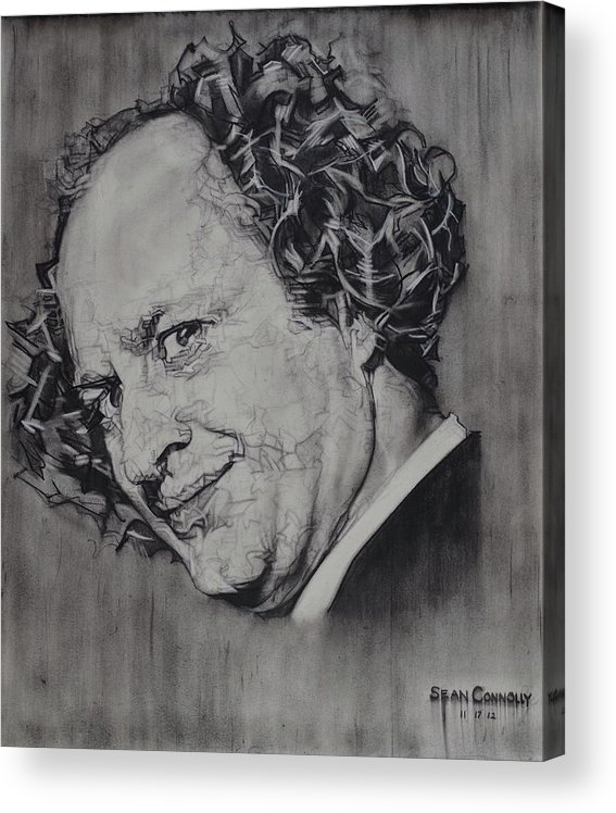 Charcoal On Paper Acrylic Print featuring the drawing Larry Fine Of The Three Stooges - Where's Your Dignity? by Sean Connolly