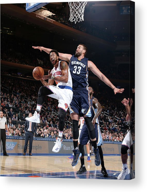 Nba Pro Basketball Acrylic Print featuring the photograph Marc Gasol and Derrick Rose by Nathaniel S. Butler