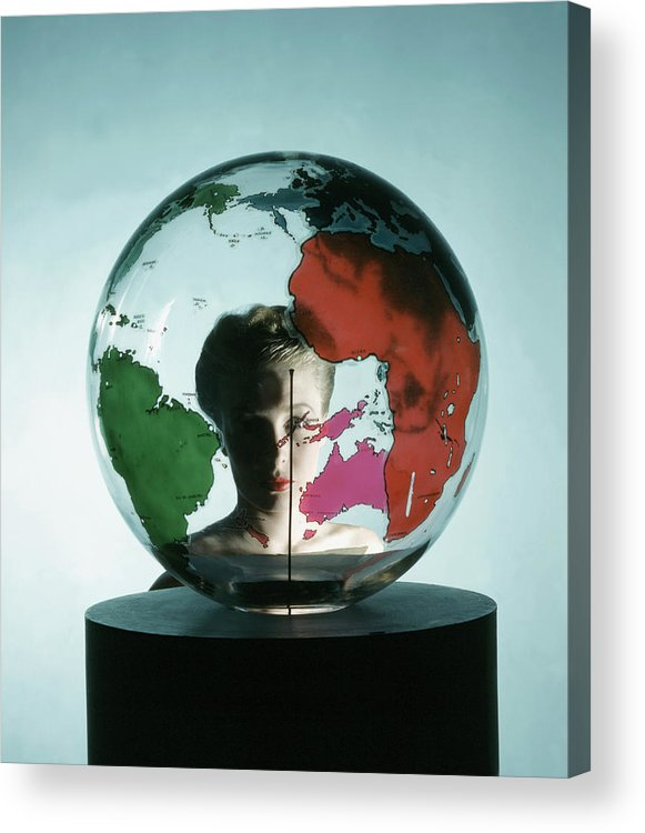Fashion Acrylic Print featuring the photograph Model Behing Transparent Globe by John Rawlings