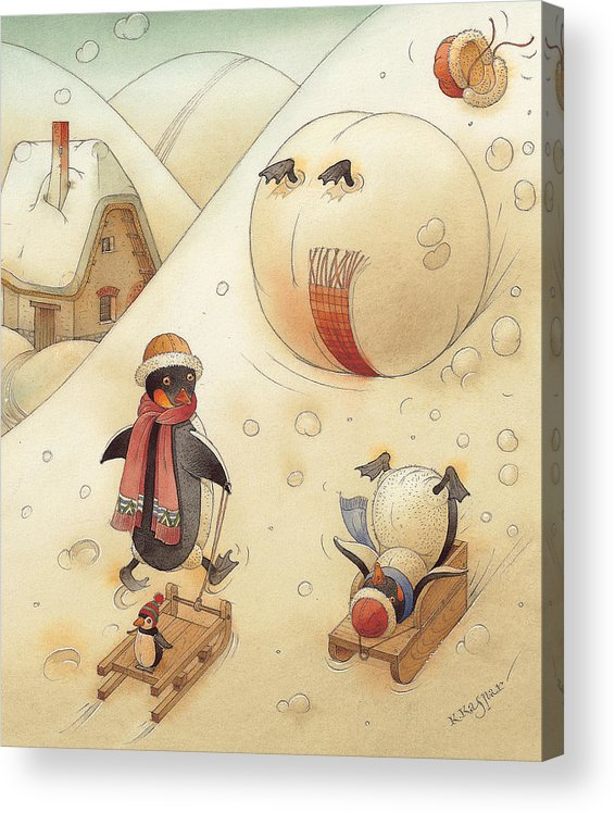 Penguins Christmas Winter Snow Sledding White Holiday Acrylic Print featuring the painting Penguins by Kestutis Kasparavicius