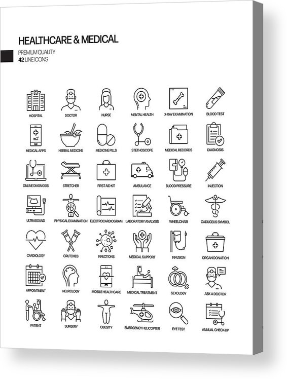 Ambulance Acrylic Print featuring the drawing Simple Set of Healthcare and Medical Related Vector Line Icons. Outline Symbol Collection by Designer