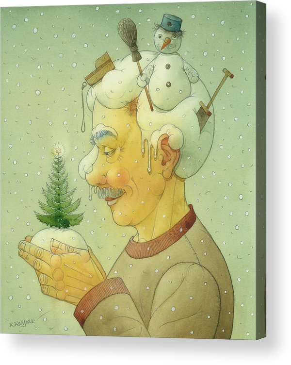 Winter Snow Figure Christmas Tree Holiday Acrylic Print featuring the painting Snovy Winter by Kestutis Kasparavicius