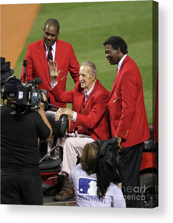 National League Baseball Acrylic Print featuring the photograph Stan Musial, Bob Gibson, and Lou Brock by Jamie Squire