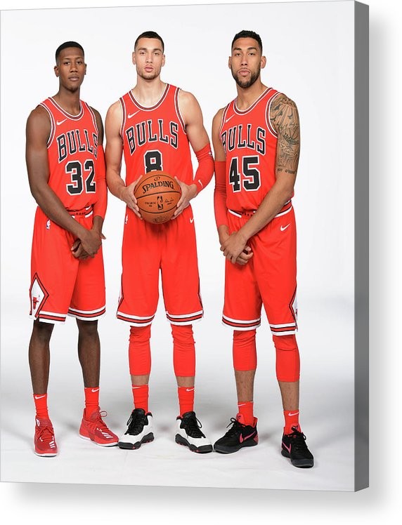 Media Day Acrylic Print featuring the photograph Zach Lavine, Kris Dunn, and Denzel Valentine by Randy Belice