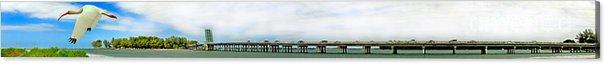 Longboat Key Acrylic Print featuring the photograph Longboat Pass Drawbridge With Bird by Rolf Bertram