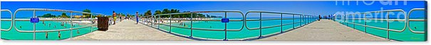 Panorama Acrylic Print featuring the photograph Manatee Beach Pier 360 Degrees by Rolf Bertram