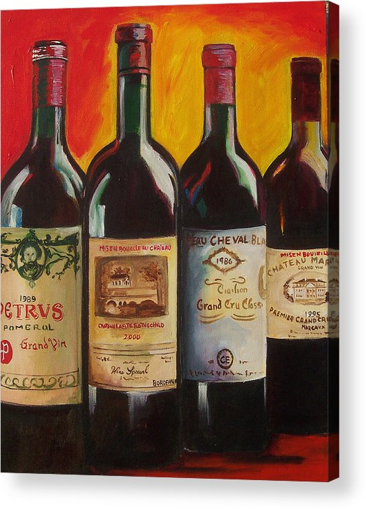 Wine Painting Acrylic Print featuring the painting Bordeaux by Sheri Chakamian