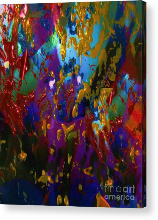 Abstract Acrylic Acrylic Print featuring the painting Splatter by Doris Wood