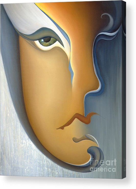 Sensual Acrylic Print featuring the painting Speak No Evil by Joanna Pregon