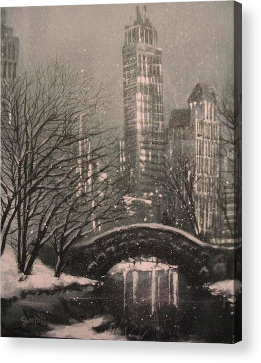 Snow Scene Acrylic Print featuring the painting Snow In Central Park by Tom Shropshire
