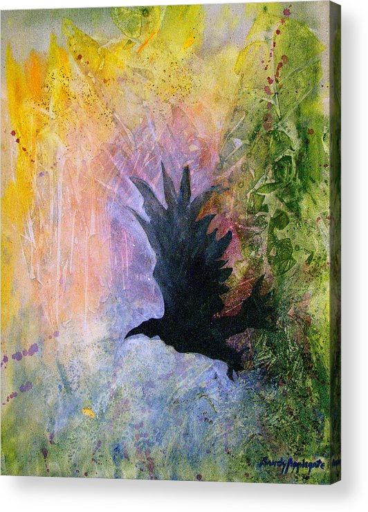 Raven Acrylic Print featuring the painting A Stately Raven by Sandy Applegate