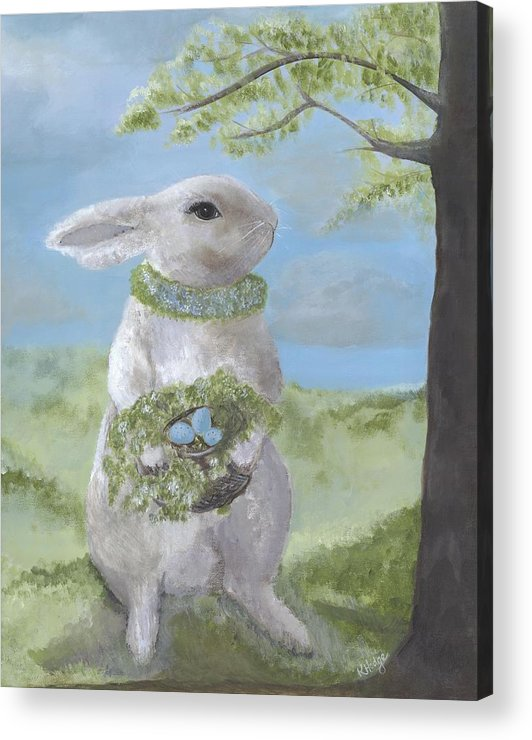 Bunny Acrylic Print featuring the painting Basil Bunny by Kimberly Hodge