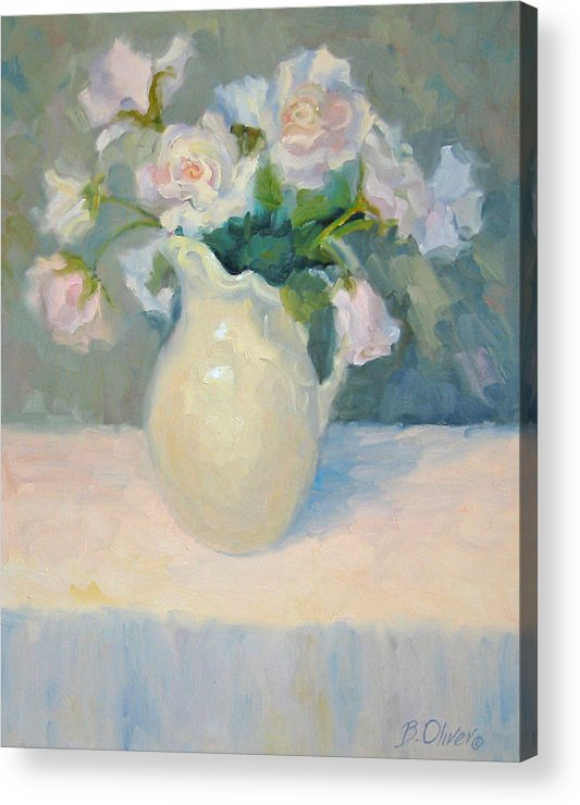 Still Life Acrylic Print featuring the painting Blushing Roses by Bunny Oliver