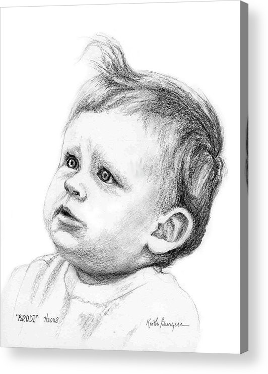 Portrait Acrylic Print featuring the drawing Brodi by Keith Burgess