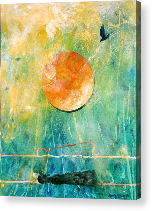 Raven Acrylic Print featuring the painting Dreaming Dreams by Sandy Applegate