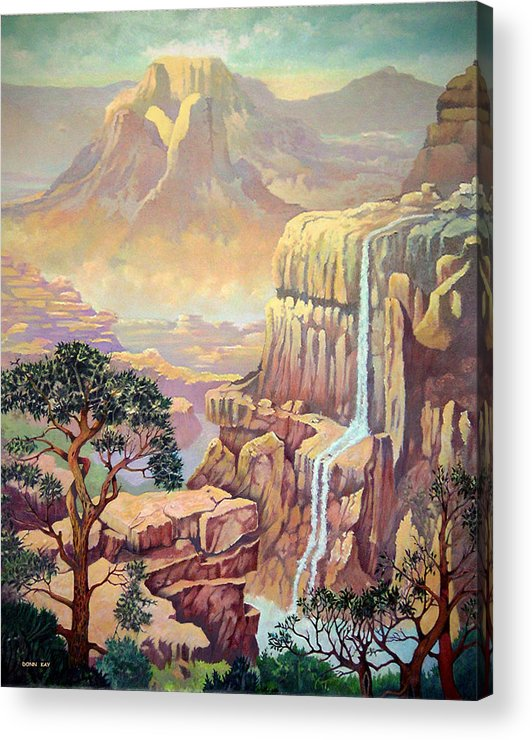 Mountains Waterfall Rocks Arizona New Mexico Southewest Landscape Acrylic Print featuring the painting Hidden Southwest Geology by Donn Kay