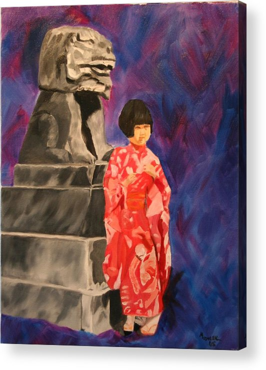 Figurative Acrylic Print featuring the painting Japanese Girl With Chinese Lion by Marilyn Tower