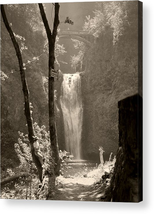 Multnomah Falls Acrylic Print featuring the photograph Lower Multnomah Falls by Unknown