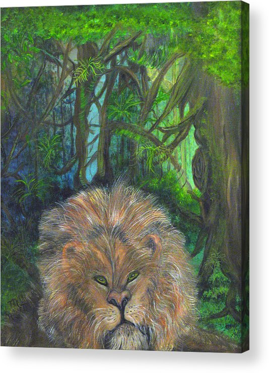 Lion Acrylic Print featuring the painting Lying Lion by Mikki Alhart