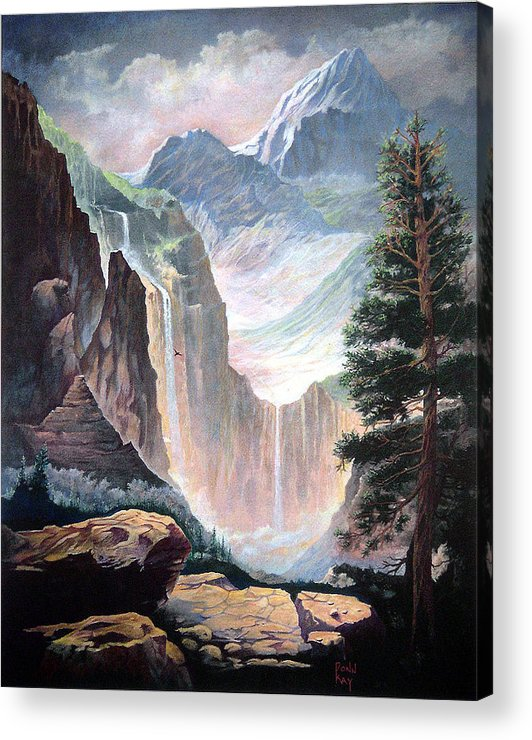 Giclee Prints Western Art Mountains Falls Eagles Southwest Landscapes Acrylic Print featuring the painting Mythical Valley Falls by Donn Kay