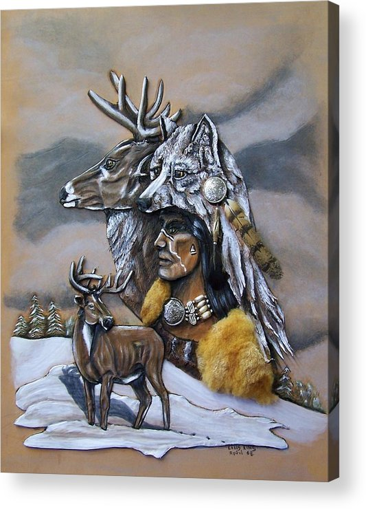 Portraits Acrylic Print featuring the painting Pray For The Deer. by Lilly King