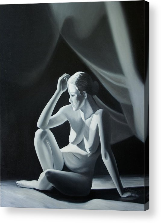 Figure Acrylic Print featuring the painting Reflection In Gray by Stephen Degan