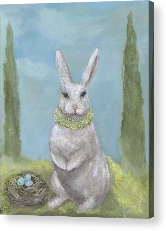 Bunny Acrylic Print featuring the painting Rosemary Rabbit by Kimberly Hodge