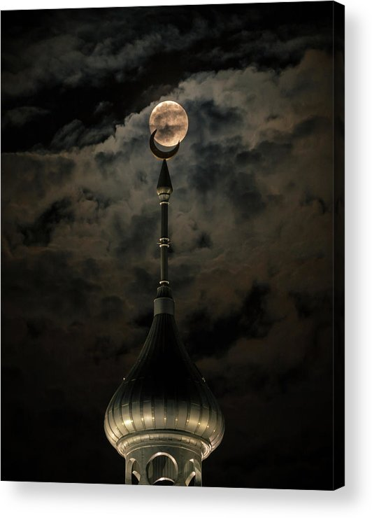 Supermoon Acrylic Print featuring the photograph Supermoon Minaret by Jon Wolding
