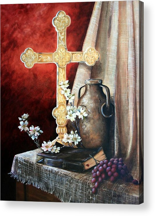 Cross Acrylic Print featuring the painting Survey The Wonderous Cross by Cynara Shelton