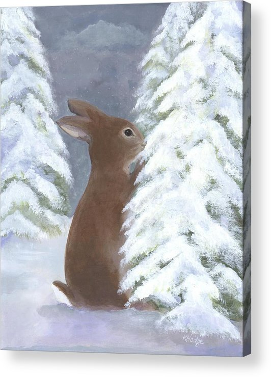Bunny Acrylic Print featuring the painting Tasting Winter by Kimberly Hodge