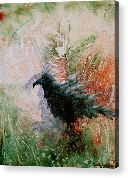 Raven Acrylic Print featuring the painting The Raven Sitting Lonely by Sandy Applegate