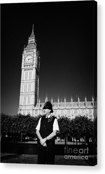 British Acrylic Print featuring the photograph british metropolitan police office guarding the houses of parliament London England UK by Joe Fox