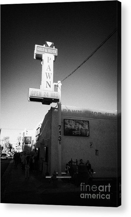 Famous Acrylic Print featuring the photograph famous gold and silver pawn shop downtown Las Vegas home to the tv series pawn stars Nevada USA by Joe Fox