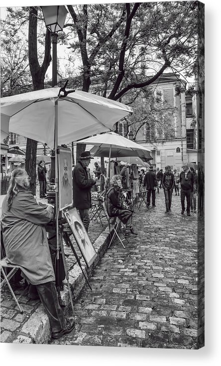 Artists In Montmartre Acrylic Print featuring the photograph Artists In Montmartre by Georgia Fowler
