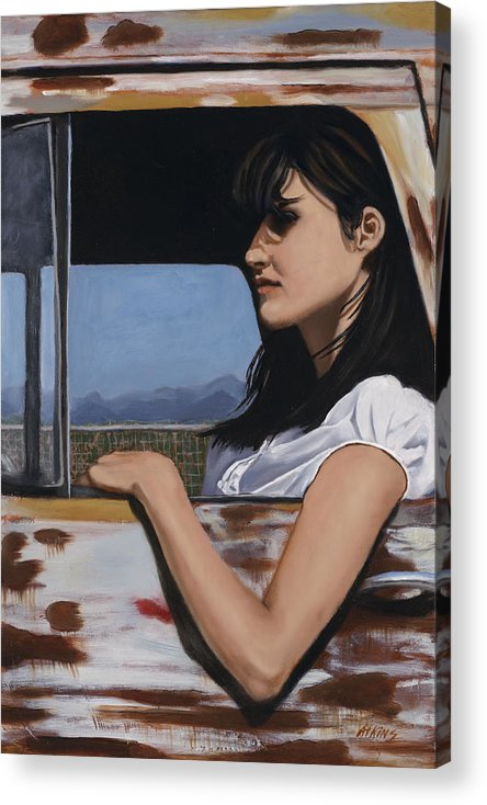 Cowgirl Acrylic Print featuring the painting Daydreams by Jack Atkins