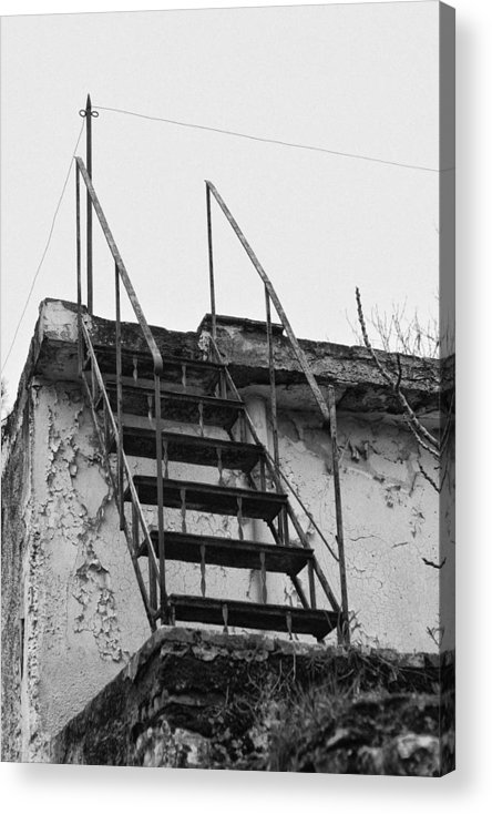 B/w Acrylic Print featuring the photograph Stairway To ... by Kostas Satlanis