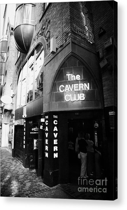 Mathew Acrylic Print featuring the photograph The New Cavern Club In Mathew Street In Liverpool City Centre Birthplace Of The Beatles by Joe Fox