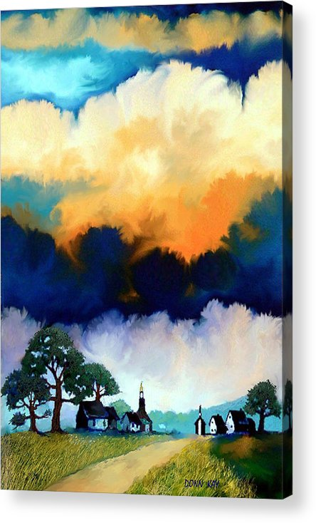 Western Art Clouds Sky Texas New Mexico Southwest Landscape Acrylic Print featuring the painting Morning In The Hill Country by Donn Kay