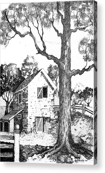 Texas Trees Barn Landscape Ink Giclee Prints Acrylic Print featuring the drawing Grandpas Barn by Donn Kay