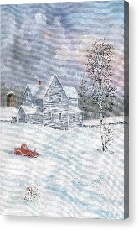 Landscape Snow Landscape Acrylic Print featuring the painting A Peaceful Day by Marveta Foutch