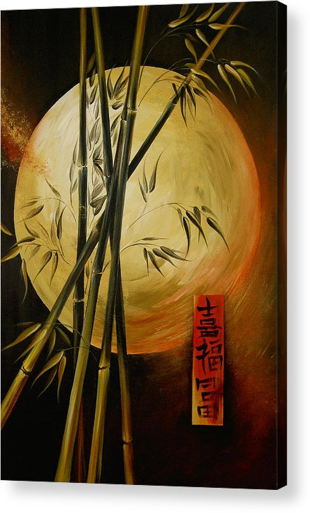 Asian Moon Bamboo Acrylic Print featuring the painting Autumn Moon by Dina Dargo