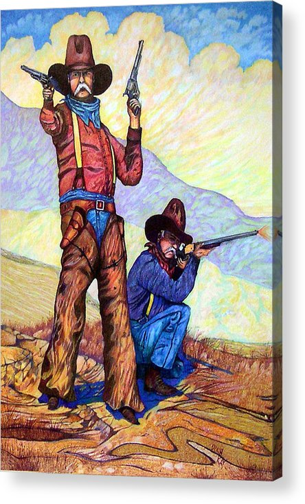 Western Art Cowboys Acrylic Print featuring the drawing Bushwacked At The Arroyo by Donn Kay