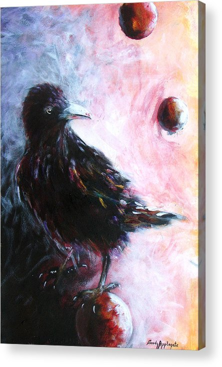 Raven Acrylic Print featuring the painting Distinctly I Remember by Sandy Applegate