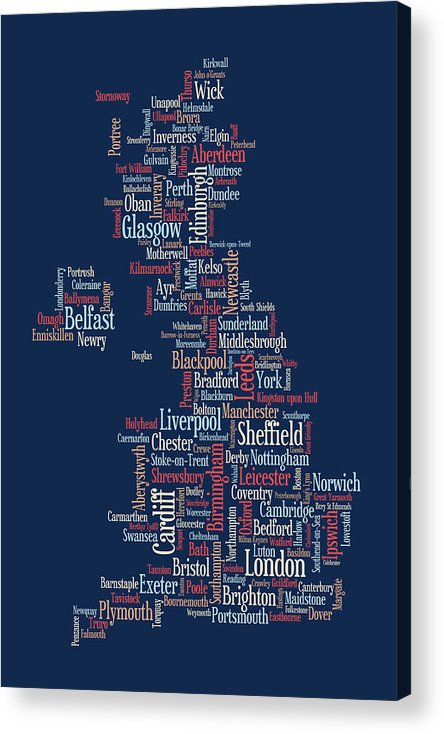 United Kingdom Acrylic Print featuring the digital art Great Britain Uk City Text Map by Michael Tompsett