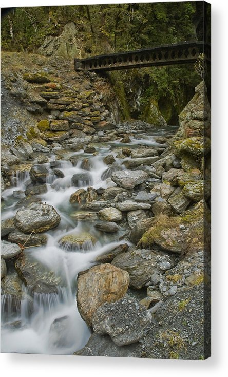 Haast Acrylic Print featuring the photograph Haast Waterfall by Andrea Cadwallader